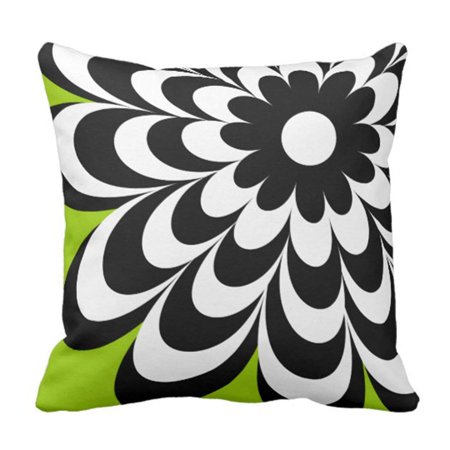 ARTJIA Flower Modern Chic Daisy Personalized Lime Floral Girly Pillowcase Cover 16x16 inch Daisy Personalized Seal