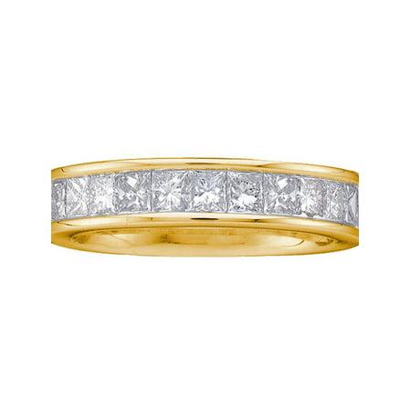 14kt Yellow Gold Womens Princess Channel-set Diamond Single Row Wedding Band 1 (Ct Tw Princess Diamonds Band)