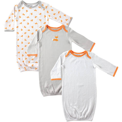 Luvable Friends Newborn Baby Boys Gowns 3-Pack, 0-6 months