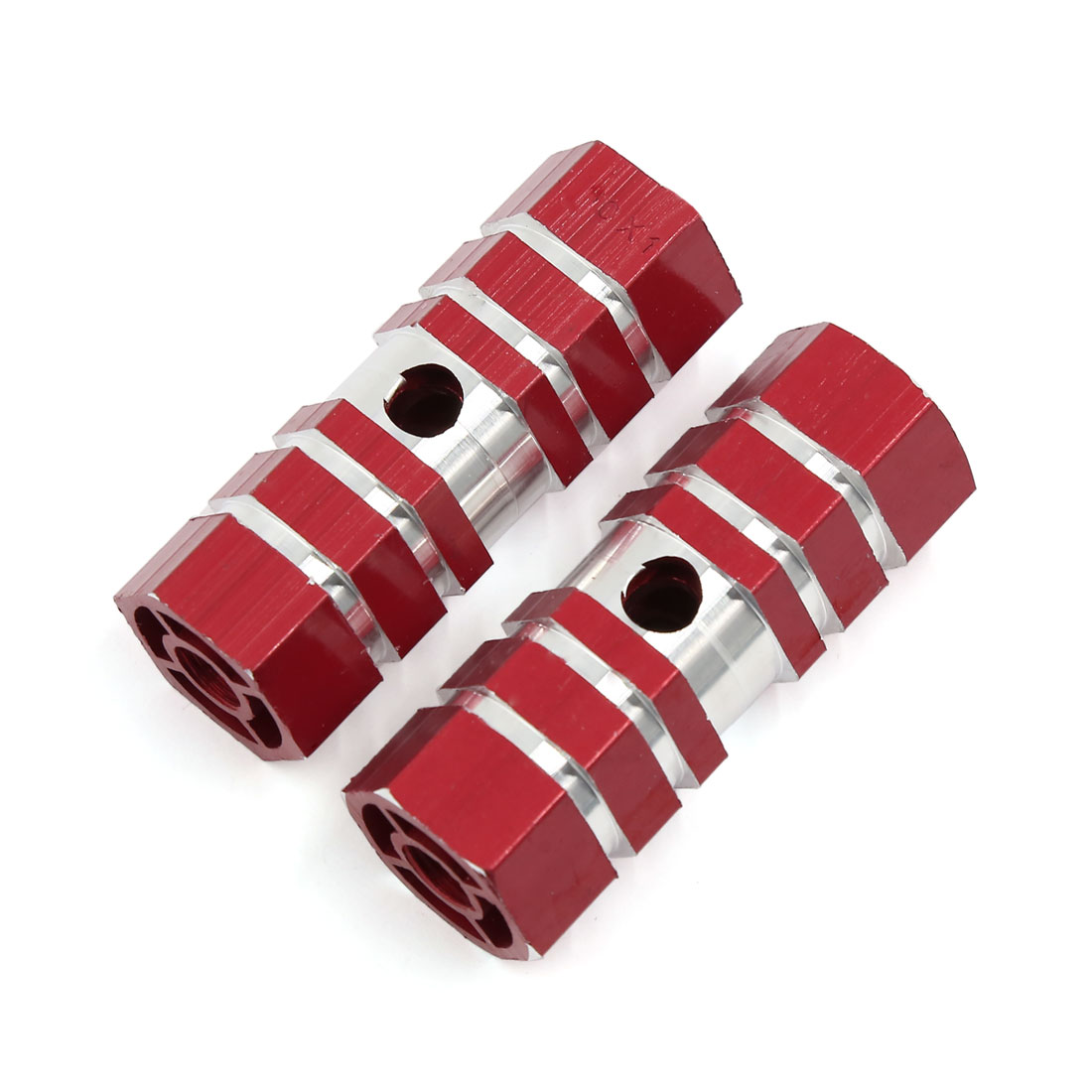 Cycling MTB Bicycle Hexagonal Cylinder Axle Foot Pegs Pair Red