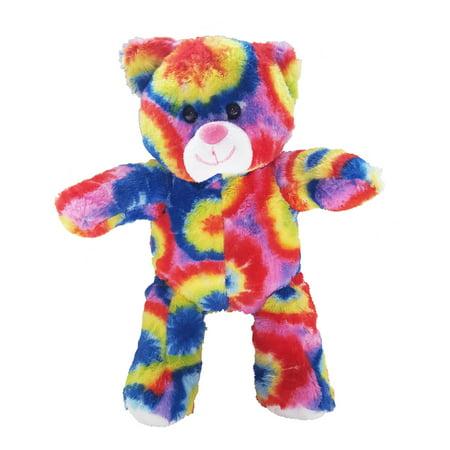 Record Your Own Plush 8 inch Tie Dye Bear - Ready 2 Love in a Few Easy