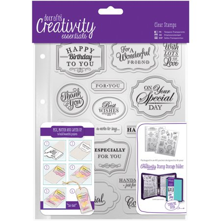 Creativity Essentials A5 Clear Stamp Set, 18pk, Trad - Sentiments Clear Stamps