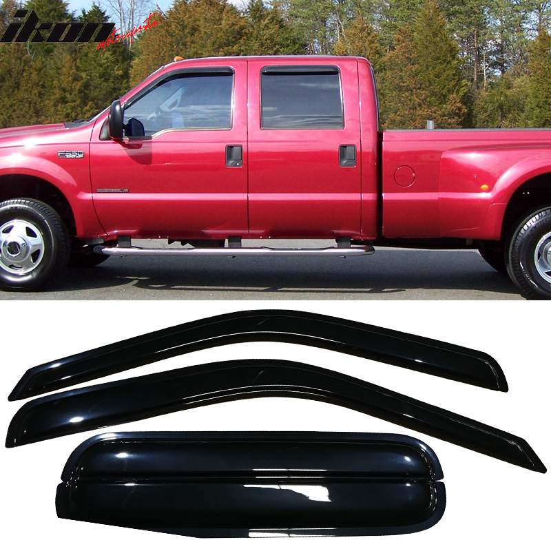 Fits 99-16 Ford F250 F350 F450 F550 Acrylic Window Visors 4Pc Set