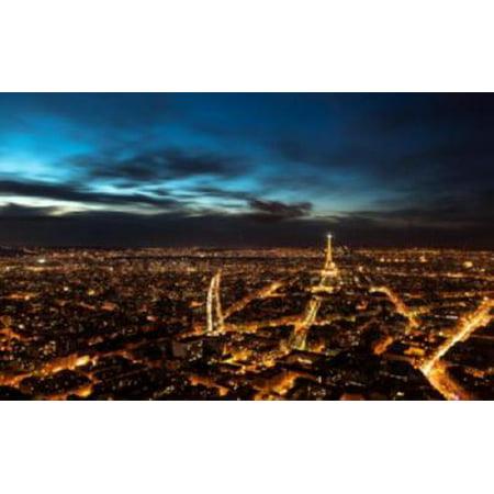 Night In Paris Theme (Paris At Night Skyline Mini Poster Eiffel Tower 11x17 Mini Poster in Mail/storage/gift)