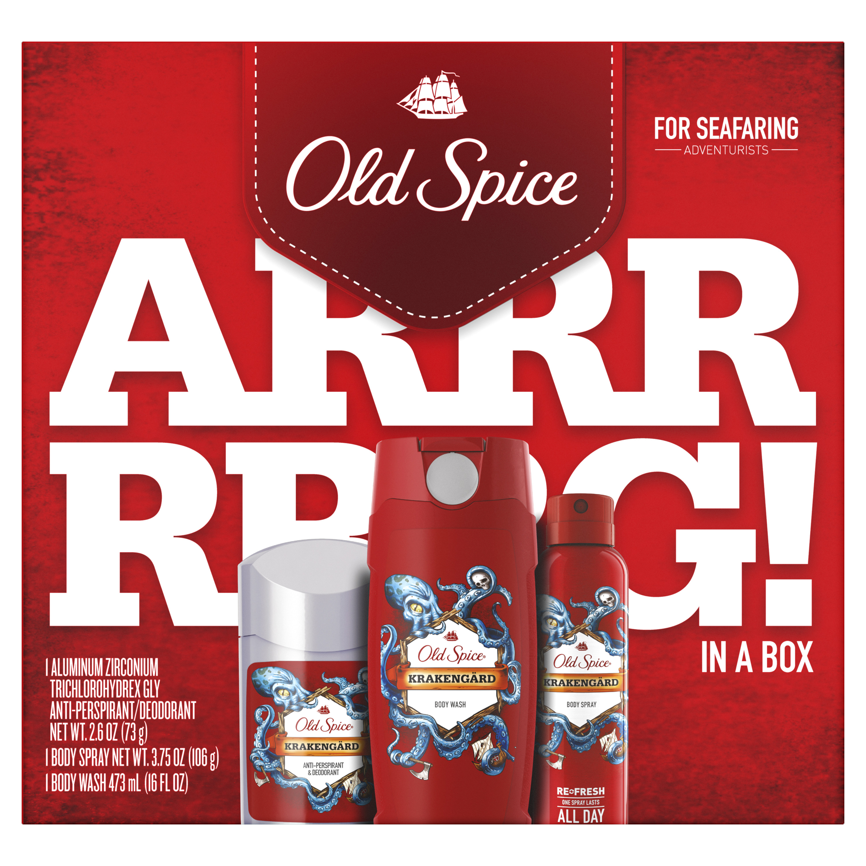 Old Spice Krakengard Antiperspirant and Deodorant + Body Wash + Body Spray, Gift Pack