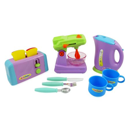 Bisontec Kitchen Appliances Play Set For Kids - Mixer, Toaster, Kettle, Cups & Utensils (Best Price For Delonghi Kettle And Toaster)