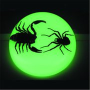 Ed Speldy East SS112 Large Dome Paper Weight with Real Black Scorpion and Spider in Acrylic Glow in the Dark