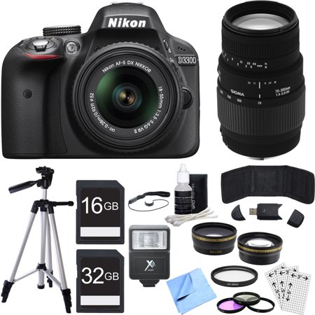 Nikon D3300 DSLR 24.2MP HD 1080p Camera w/ 18-55mm + 70-300mm Lens Black Bundle includes Camera, Lenses, 52mm Filters, 16GB + 32GB SDHC Memory Cards, Tripod, Cleaning Kit, Beach Camera Cloth and