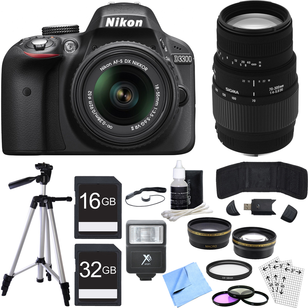 Nikon D3300 DSLR 24.2MP HD 1080p Camera w/ 18-55mm + 70-300mm Lens Black Bundle includes Camera, Lenses, 52mm Filters, 16GB + 32GB SDHC Memory Cards, Tripod, Cleaning Kit, Beach Camera Cloth and More