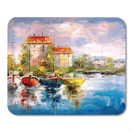 KDAGR Italy Colorful Abstract Oil Painting Harbor View Canvas Port Mousepad Mouse Pad Mouse Mat 9x10 inch