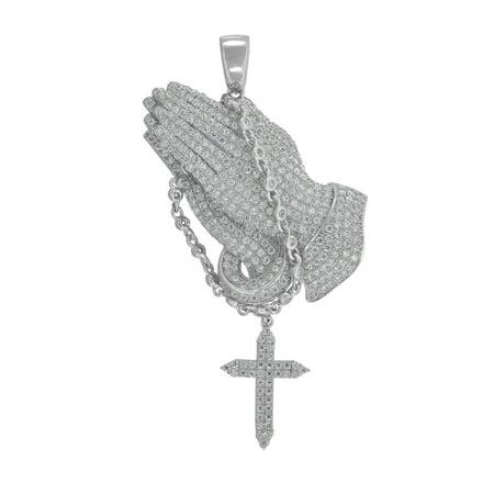Dangling Cross Pendant - 925 Sterling Silver Mens Round CZ Praying Hand Dangling Cross Cluster Fashion Charm Pendant