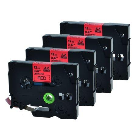 GREENCYCLE 4PK Black on Red 12mm TZ TZe TZe-431 TZ-431 TZe431 TZ431 Laminated Label Tape for Brother P-touch PT-1280 PT-1290 PT-1880 Label Maker