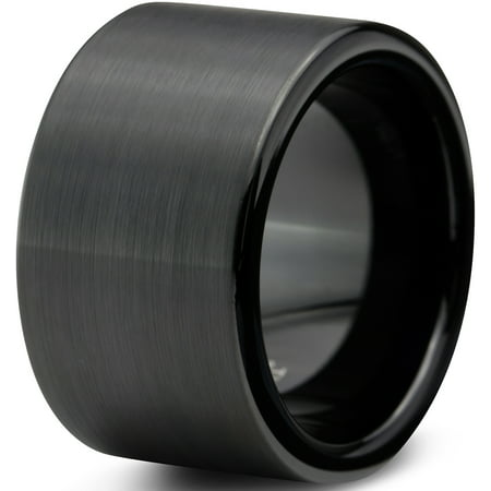 Tungsten Wedding Band Ring 12mm for Men Women Comfort Fit Black  Pipe Cut Brushed Lifetime Guarantee (Pipe Bands)