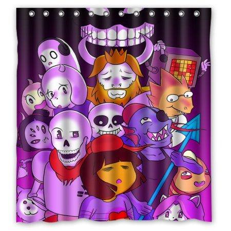 Deyou Undertale Fan Monster Skeleton Shower Curtain Polyester Fabric Bathroom Shower Curtain Size 60X72 Inch