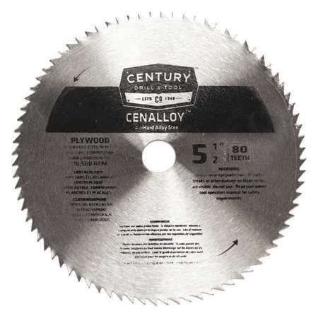 "5-1/2"",80-Teeth Plywood Circular Saw Blade CENTURY DRILL AND TOOL 08253"