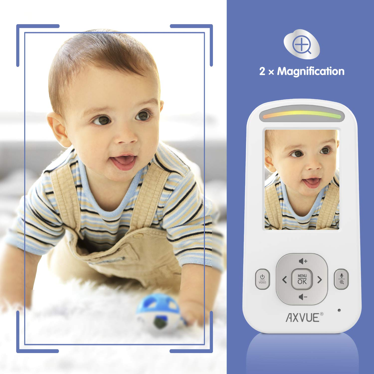 Model E600A Video Baby Monitor with Night Vision Camera and Slim-Designed Screen by Axvue