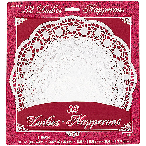 Assorted Round White Lace Paper Doilies, 32ct