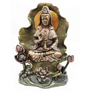 Bodhisattva Buddha Kuan Yin Seated On Lotus In Meditation Sculpture Statue