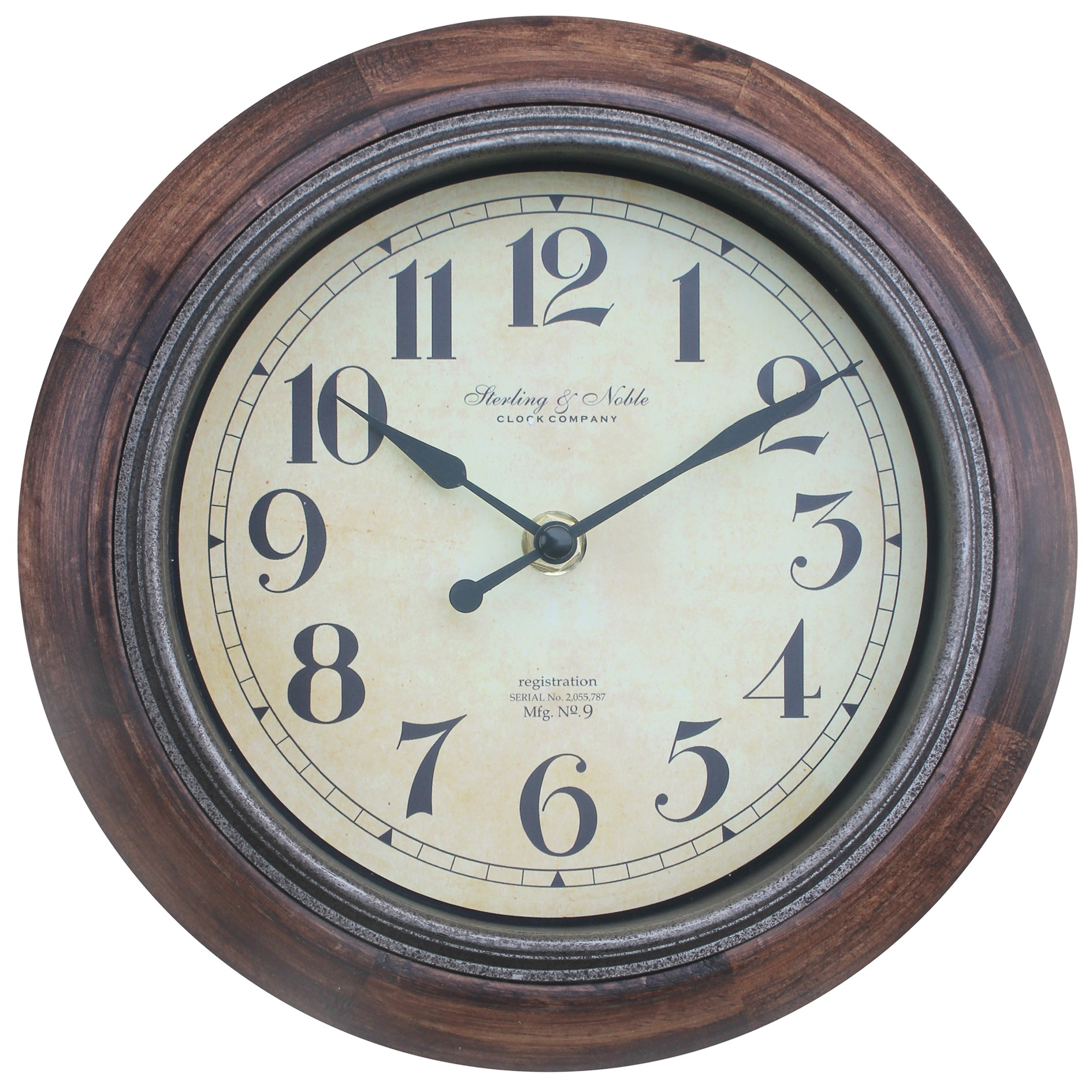 "Click here to buy BETTER HOMES AND GARDENS 8.88"" RUSTIC WOOD CLOCK by Sterling & Noble."