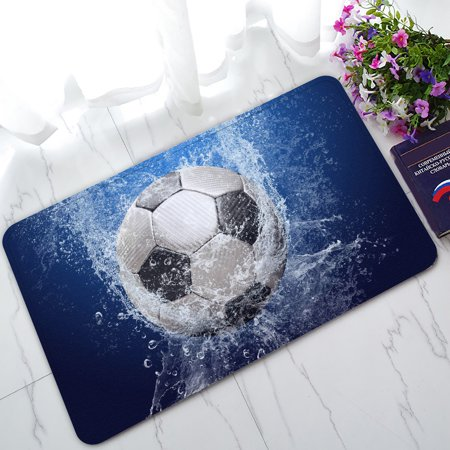 YKCG Water Drops Soccer Ball World Cup Doormat Indoor/Outdoor/Bathroom Doormat 30x18 inches 29' Soccer Ball Mat
