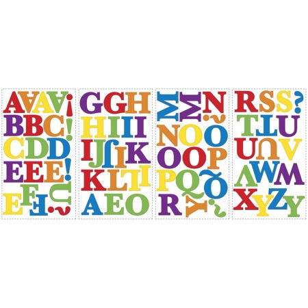 Primary Alphabet Letters Colorful Wall STICKERS Room Decor Decals ABC Rainbow School Abc Alphabet Wall Border