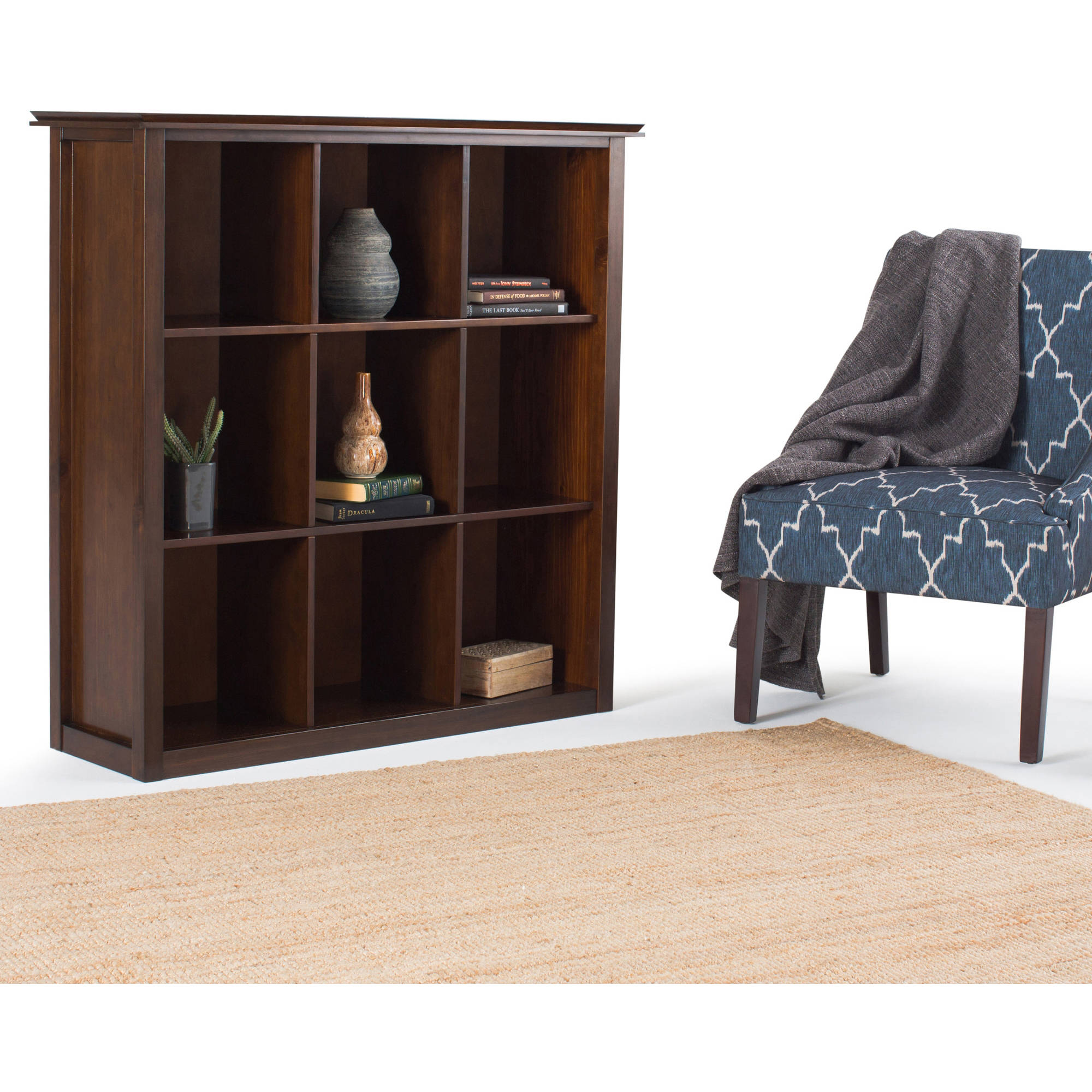 Brooklyn + Max Holden Collection Auburn Brown 9-Cube Bookcase and Storage Unit