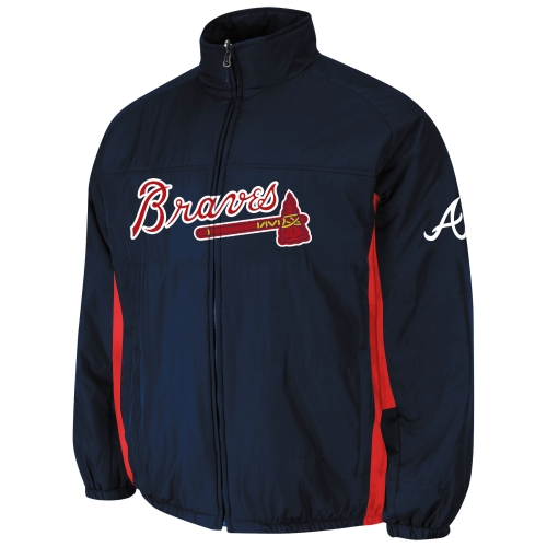 Big & Tall Atlanta Braves Double Climate On-Field Jacket - Navy Blue