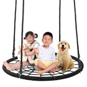 """ZENY Largest 48"""" Tire Web Tree Net Swing - Extra Large Platform - 360 Rotate°- Adjustable Hanging Ropes - Attaches to Trees or Existing Swing Sets - for Multiple Kids or Adult"""