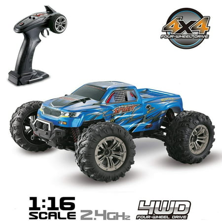 (Hosim High Speed 36km/h 4WD 2.4Ghz Remote Control Truck 9130, 1:16 Scale Radio Conrtolled Off-Road RC Car Electronic Monster Truck R/C RTR Hobby Cross-Country Car Buggy (Blue))