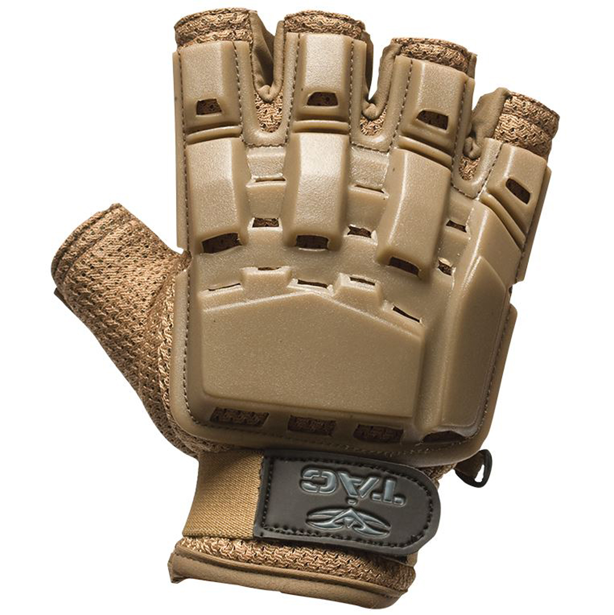 Valken Paintball V-Tac Half Finger Plastic Backed Gloves - Tan