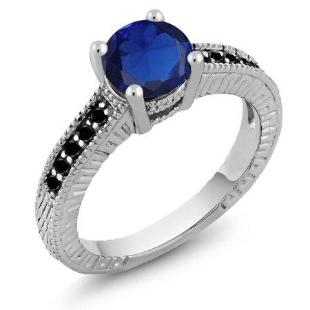 1 84 Ct Round Blue Simulated Sapphire Black Diamond 18K White Gold Engagement Ring