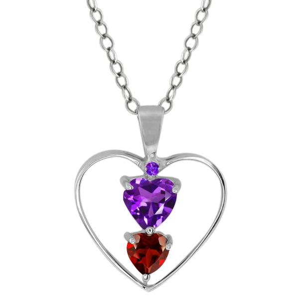 0.78 Ct Heart Shape Purple Amethyst Red Garnet 14K White Gold Pendant