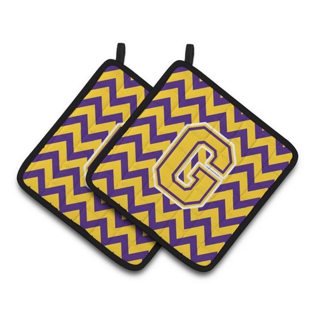 Carolines Treasures CJ1041-GPTHD Letter G Chevron Purple & Gold Pair of Pot Holders, 7.5 x 3 x 7.5 in. - image 1 de 1