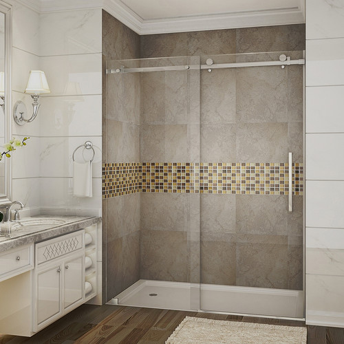 Aston Moselle 60 in. x 75 in. Completely Frameless Sliding Shower Door in Stainless Steel with Clear Glass