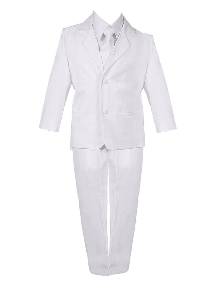 Little Boys White 5 Piece Classic Vest Jacket Pants Special Occasion Suit