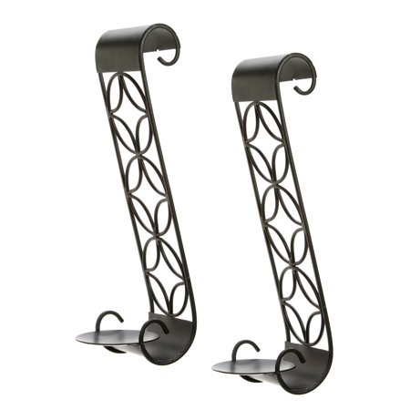 "Hosley ® Set of 2 Iron Pillar Candle Wall Sconces-14"" High. O4"