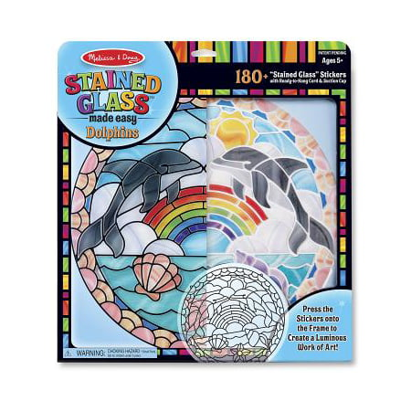 Melissa & Doug Stained Glass Made Easy Craft Kit: Dolphins - 180+ - Stained Glass Cross Craft