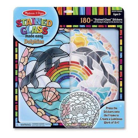 Melissa & Doug Stained Glass Made Easy Craft Kit: Dolphins - 180+ Stickers (Kids Crafts Stained Glass)