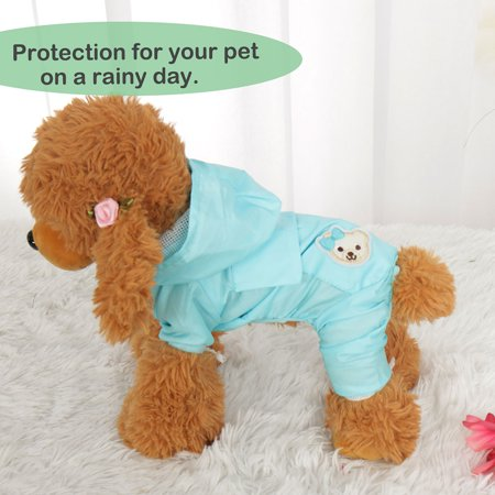 Water Repellent Dog Raincoat L Comfortable Pet Clothes Lightweight Rain Jacket Hooded Outdoor Poncho Sky