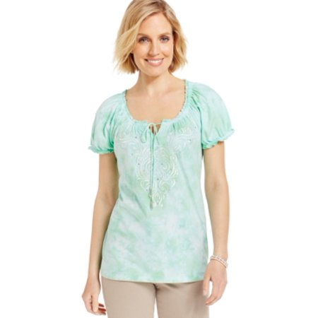 JM Collection Keyhole Neck Embellished Peasant Blouse Spring Bud  Size - Neck Spring