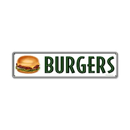 Past Time Signs RPC178 Burgers Food And Drink Metal Sign, 20 W X 5 H In.