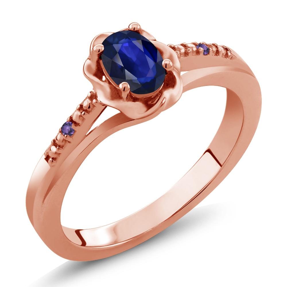 0.46 Ct Oval Blue Sapphire Purple Amethyst 14K Rose Gold Ring