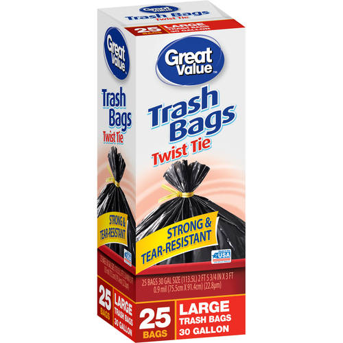 Great Value Large Twist Tie Trash Bags, 30 Gallon, 20 count
