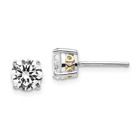 34bca63bf 925 Sterling Silver Gold Plated X O 6.5mm Cubic Zirconia Cz Stud Earrings  Love Fine Jewelry ...
