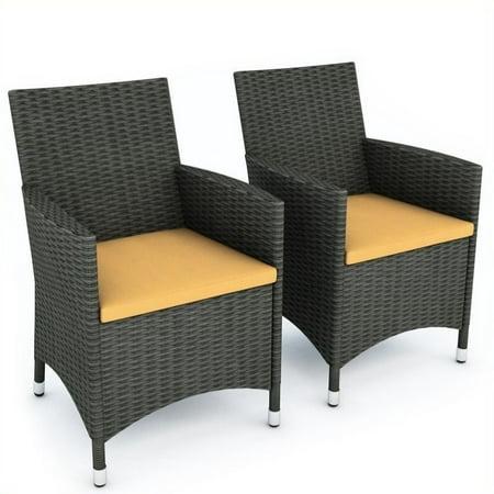 Atlin Designs Outdoor Chair in River Rock Black Weave (Set of 2)