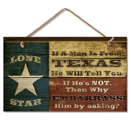 Western Sign: Lone Star, Size: 9.5 w x 5.625 h x .25 d By Highland Graphics