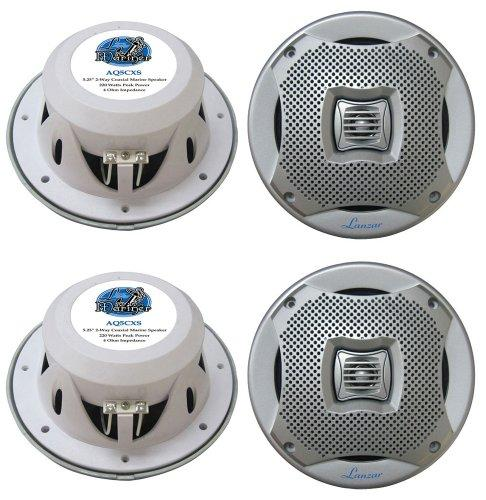 4) new lanzar aq5cxs 5.25 800w 2-way marine/boat audio stereo speakers silver