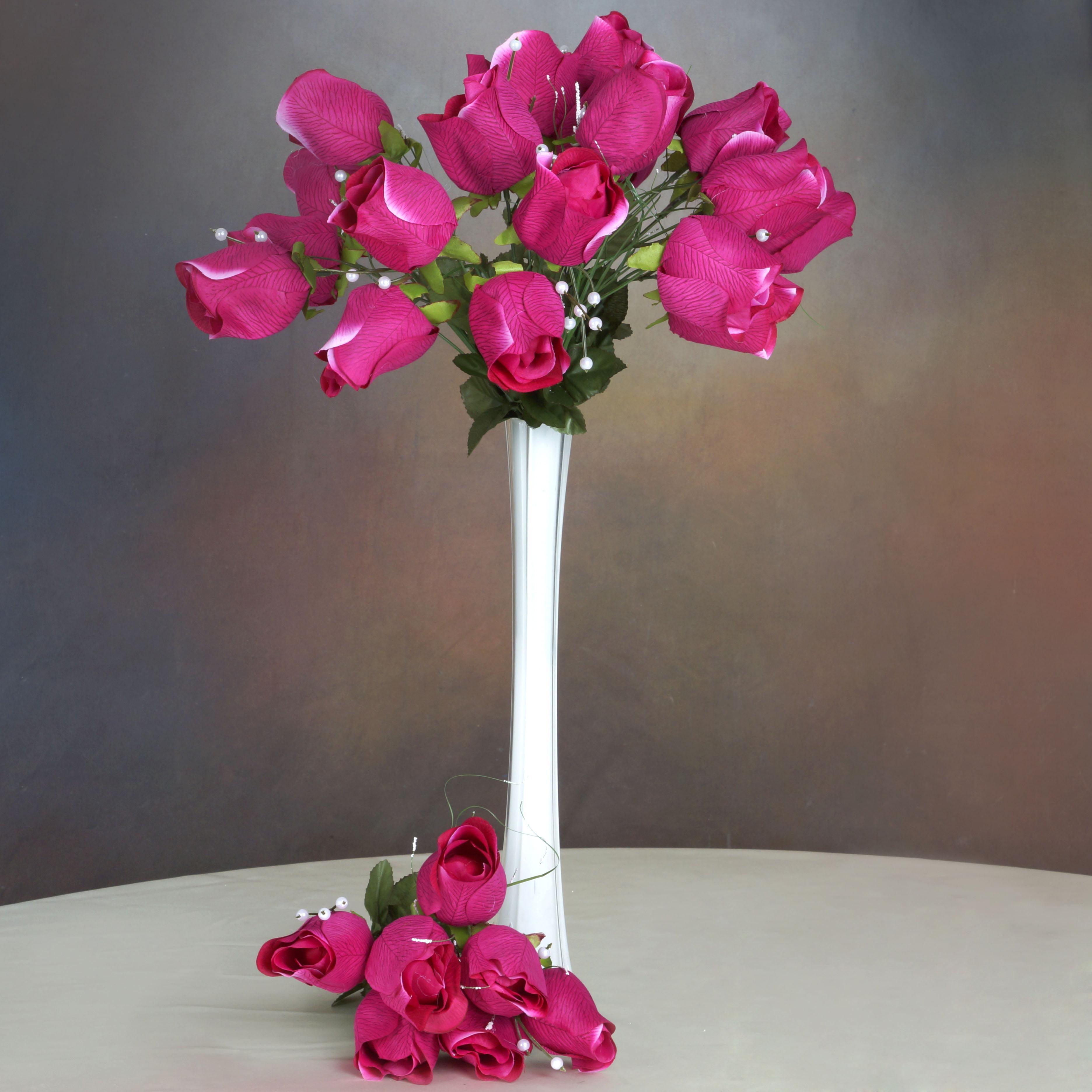 BalsaCircle 42 Giant Velvet Rose Buds on Long Stems - Artificial Flowers DIY Home Wedding Party Bouquets Arrangements Centerpieces