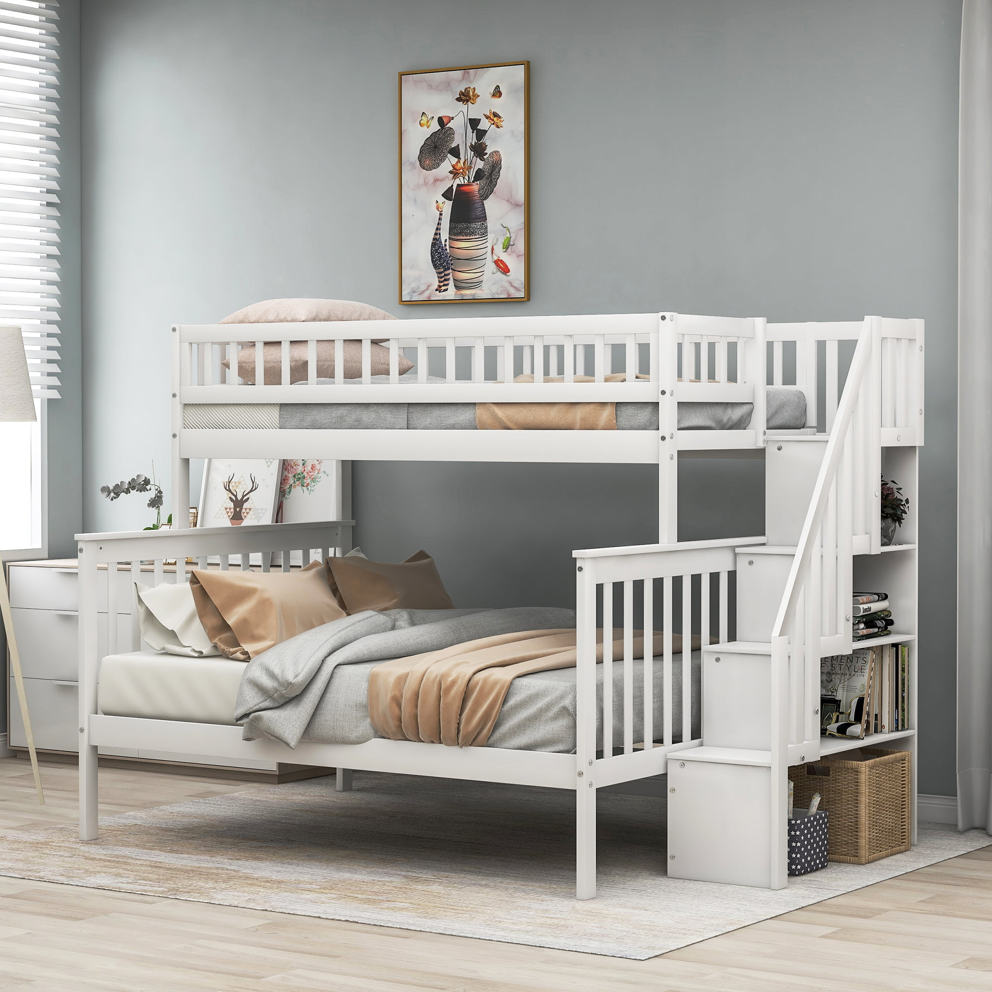 Harper Bright Designs Twin Over Full Bunk Bed With Stairs And Storage For Kids Multiple Colors Walmart Com Walmart Com