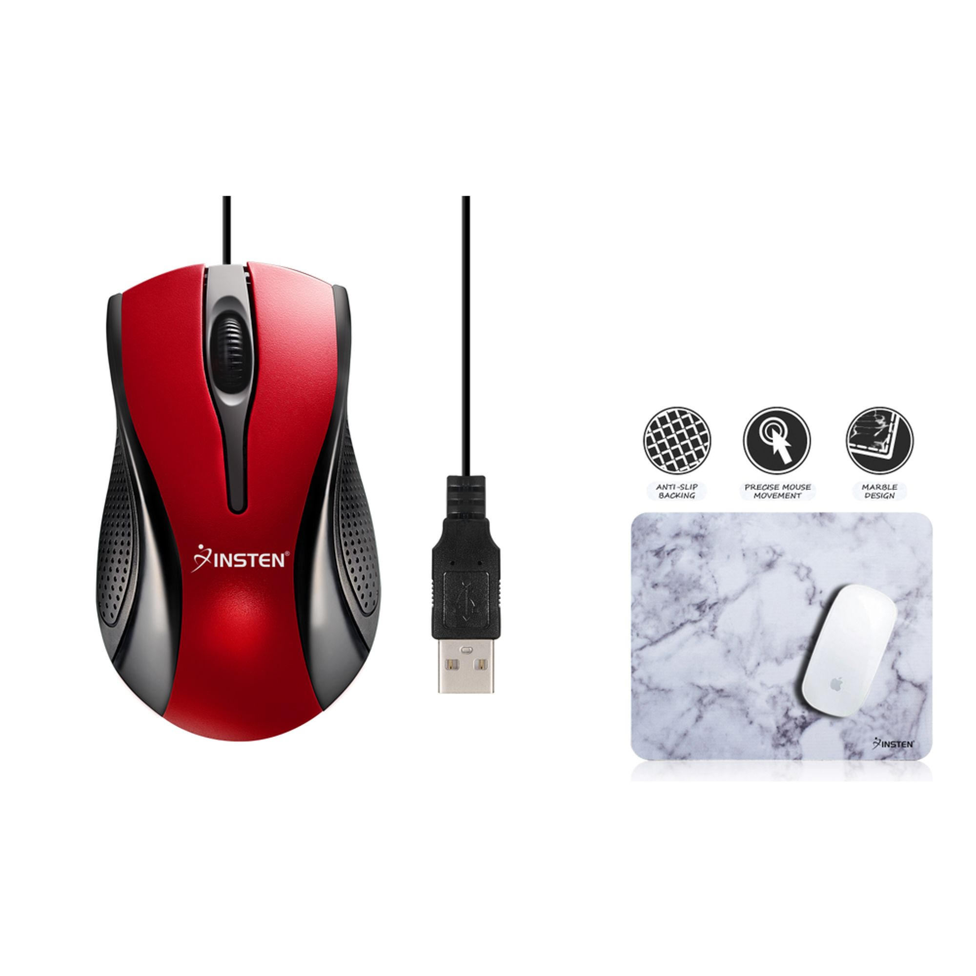 Insten Mouse for Computer Red/Black USB Optical Scroll Wheel Mouse + Computer Mouse Pad White Marble